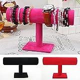 Gioielli T bar Holder, porta gioielli, gioielli braccialetto espositore in velluto nero a torre verticale, per display Holder