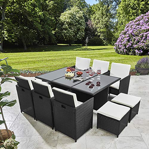 11 Piece / 10 Seater | PE Rattan Cube Table, Chair, Stool Set | Garden Furniture (no parasol, Black)