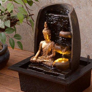 Bibiana Buda Dorado con Tazas de Agua y Fuente de Agua de Interior con luz LED, 21 cm x 18 cm x 25 cm 9