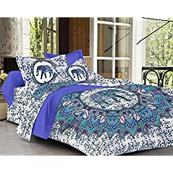 SheetKart Elephant Mandala Printed Traditional 144 TC Cotton Double Bedsheet and 2 Pillow Covers - Floral, Blue