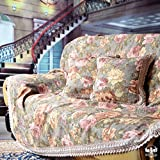 HYDBFKJUBVFU Fundas de sofá del Telar jacquar Europea,Rural Toalla de sofá de cover1 paño del sofá Vintage Encaje Suede sofá Cubierta-A 190x330cm(75x130inch)