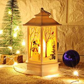 Lampe de Noël, Decorative Lanterne LED Lumière Blanc Chaud Lampe de Table Sans Fil A Piles, Petite Taille