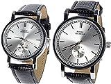 Vetrineinrete® Set 2 orologi da polso coppia per lui e per lei con cinturino in similpelle orologio partner C4