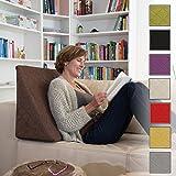 La Almohada Tipo Cuña increíble - Para Su Sala De Estar o Su Recamara, Almohada Para Leer Con Un Sentado Relajado. Disponible en 8 Colores Con Un Diseño De Moda (Marrón)