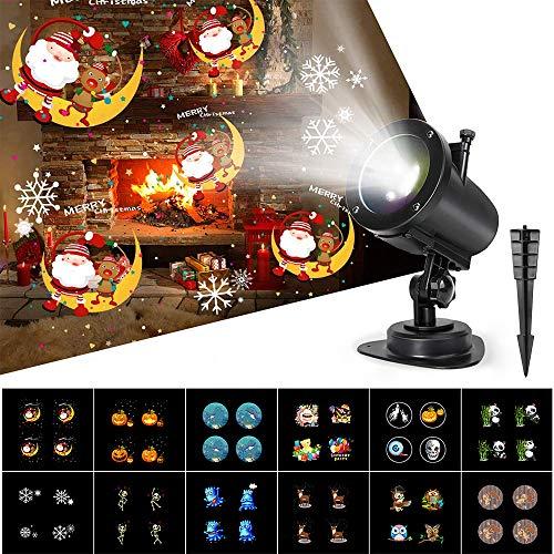 Proiettore Luci Natale Esterno 6 Modalità,Luce Proiettore con 14 Diapositive IP65 Impermeabile,6H...
