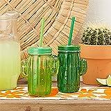 Vasos Cactus Exóticos Diseño Tapa Y Pajita 2 Colores