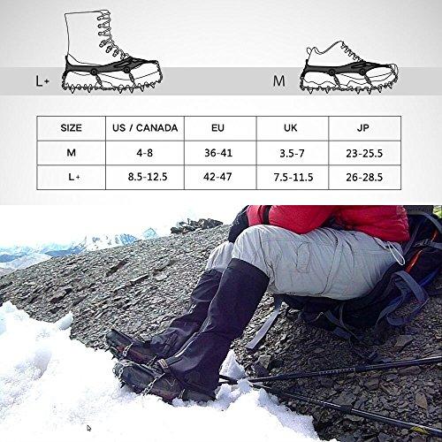 Terra Hiker Crampones con 18 Dientes-Pinchos Tacos de Tracción de Acero Inoxidable y Anti Deslizante en Hielo Estabilizadores para Caminar Correr Escalar sobre Nieve o Hielo Negro 3