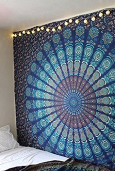 Tapices de pared color azul tipo mandala de doble ;o de pavo real,ropa de cama estilo indio, colgante de pared bohemio, cubierta de cama de estampado floral, tapiz hippie de raajsee (54×84)