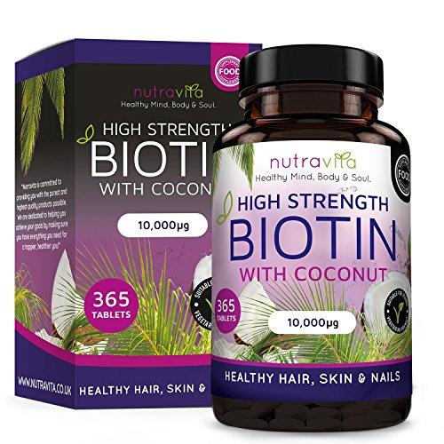 Biotina 10,000 MCG (365 Compresse - Fornitura di un Anno) | Dose Elevato Integratori Capelli e Pelle infusa con Olio di Cocco | Adatto per Vegetariani e Vegani | Prodotto nel Regno Unito da Nutravita