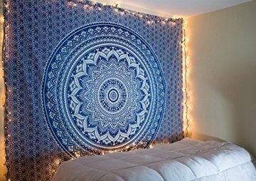 Tapiz Raajsee de regalo de Navidad, azul con degradado y Mándala, tapiz de elefante bohemio, diseño psicodélico para colgar en la pared, tapiz hippie de 220x 240cm 2