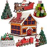 Deuba Calendario dell' Avvento riempibile Casetta di pan di zenzero 24 piccoli regali in legno Natale bambini Decorazione natalizia