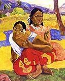 Legendarte P-176 Quadro di  Paul Gauguin - Nafea Faa Ipoipo (Quando Ti Sposi?), Stampa digitale su tela, Multicolore, cm. 80 x 100