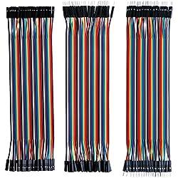 Elegoo 120 Piezas de Cable DuPont, 40 Pines Macho-Hembra, 40 Pines Macho-Macho, 40 Pines Hembra-Hembra, Cables Puente para Placas Prototipo (Protoboard) para Arduino, Kit de Cables para Arduino