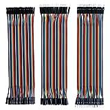 Elegoo 120pcs 3 in 1 Kit Cavetti Jumper Filo Dupont Multicolore Wire Cavi 40 pezzi da M/F Maschio a Femmina, 40 pezzi da Maschio a Maschio, 40 pezzi da Femmina a Femmina per Arduino UNO Raspberry Pi