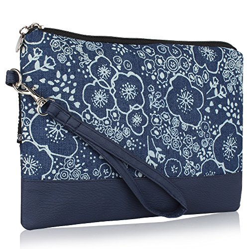 Home Heart Women's Cotton Cell Phone Wristlet(Blue)