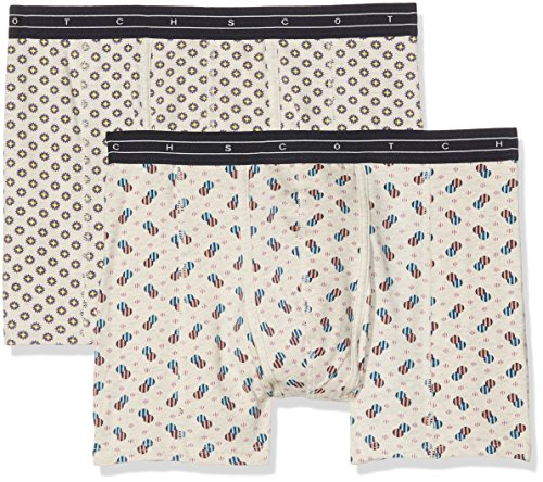 Scotch & Soda Herren Classic Boxer Short in Ecru Melange Jersey Quality with All 2er Pack