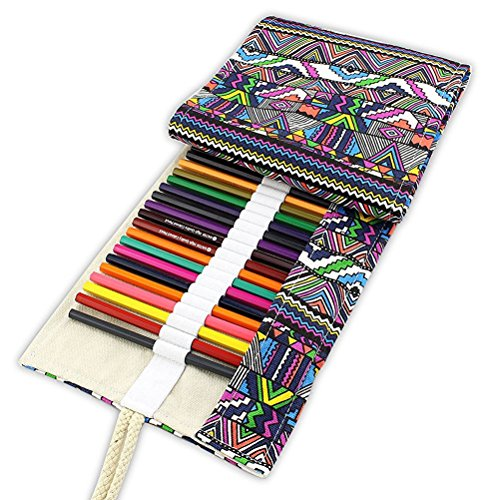 Tinksky Tela colorata matita matita caso 48 Roll Wrap per Set di matite colorate (48 slot matita...