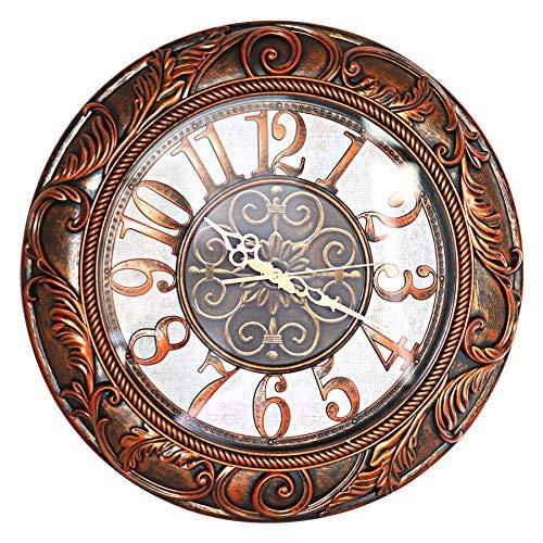 ufengke Orologio da Parete Grande Colore Bronzo Silenzioso Vintage Europei Orologio da Muro al Quarzo con Cornice Rustico 50 cm