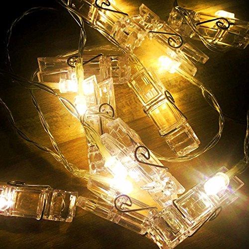 ONEVER 10 20 LED foto clip LED String luci ghirlande batteria fata vacanza luci fai da te...