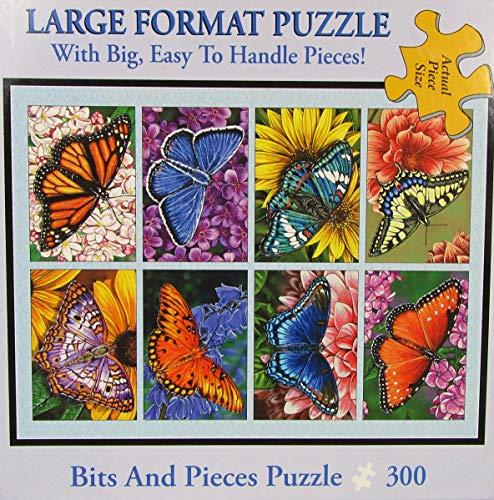 Bits and Pieces 300 Piezas de Jigsaw Puzzle Mariposas y Flores, Mariposas, edredón por Artista Marilyn Barkhouse 300 Pc Jigsaw
