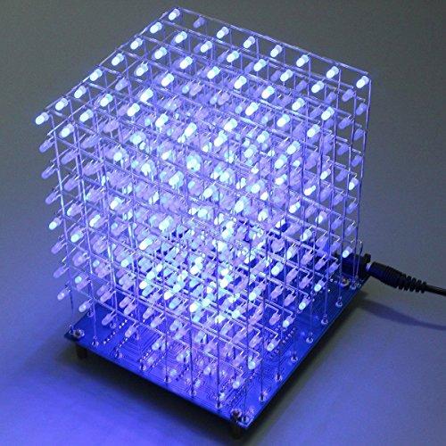 61WFhruGSyL - Arduino DIY sansido 8x 8x 8LED Cube 3d Square Kit de electrónica de soldadura Sarter Junta de luz (LED azul)