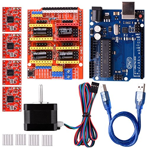 CNC Shield V3.0 features: Latest Arduino CNC Shield Version 3.0. GRBL 0.8c compatible.(Open source firmware that runs on an Arduino UNO that turns G-code commands into stepper signals) 4-Axis support(X, Y, Z , A-Can duplicate X,Y,Z or do a fu...