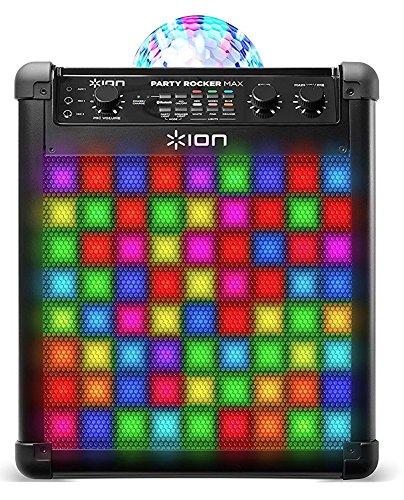 ION Audio Party Rocker Max - Altavoces de Fiesta de 100 Vatios y Centro de Karaoke con Batería Recargable Incorporada, Pantalla de Luz de Fiesta Domo, Rejilla de Luz LED y Micrófono