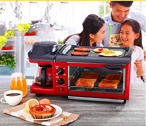 Mxbaoheng Multifunktionsgerät zur Zubereitung von Frühstück, 3-in-1, Toaster-Ofen, elektrische Pfanne, Kaffeemaschine, ideal auch für japanisches Teppanyaki