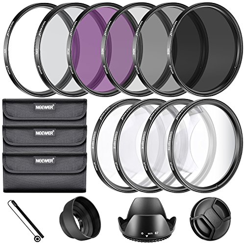 Neewer Kit di Filtri Completo per Obiettivo, 67 mm, Filtro UV, Polarizzatore, Fluorescente + Filtri per Macro (+1, +2, +4, + 10) + Set di Filtri a Densità Neutra (ND2, ND4, ND8) + Altri