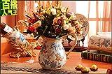 GAW Decor Vintage Artesanal Maceta Jarrón de cerámica Europea para centros de Mesa Salón Cumpleaños Fiesta de Boda decoración del hogar de Escritorio