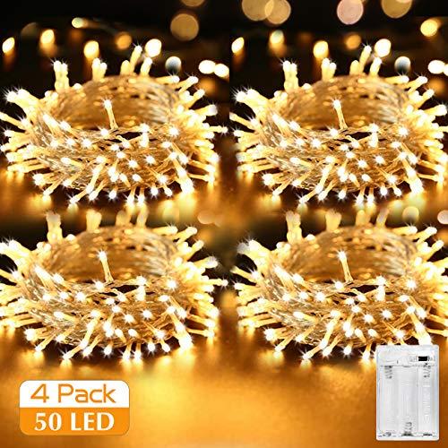 [4 Pezzi] Stringa Luci LED Batteria, Kolpop Catena Luminosa 5m 50 LED Ghirlanda Luminosa Lucine LED...