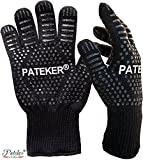 Pateker Premium Qualität Hitzebeständig EN407 Beglaubigte - 2 Professionelle grillhandschuhe ofenhandschuhe Kochhandschuh Topfhandschuhe Backhandschuh -Men Size
