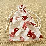 3sacchetto di organza sacchetti regalo 18,5x 12cm con cappelli decorato, colore: Platino