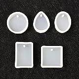 Fengge 5pcs Stampi in silicone Modanature bricolage fabbricazione di gioielli con fori sospese