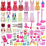 Siiruc Vestidos Barbie, 120 Piezas Accesorios Barbie Ropa de Muñecas de Barbie, Mini Vestidos de Moda, Zapatos, Perchas y Accesorios de Cocina para Muñecas Barbie cumpleaños Soporte para niñas