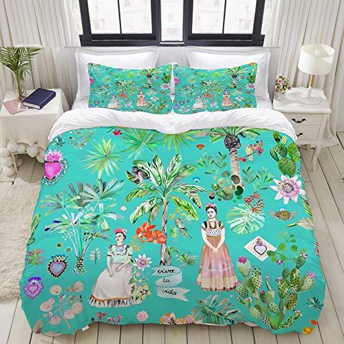 SnowXXL Bedding Juego de Funda de Edredón,Botánica de Frida Kahlo - Verde Esmeralda,Microfibra Funda de Nórdico y Fundas de Almohada - 200 x 200cm