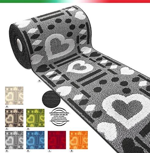 Tappeto cucina cuori SU MISURA AL METRO h57cm bordato tessitura 3D retro antiscivolo mod.CLELIA...