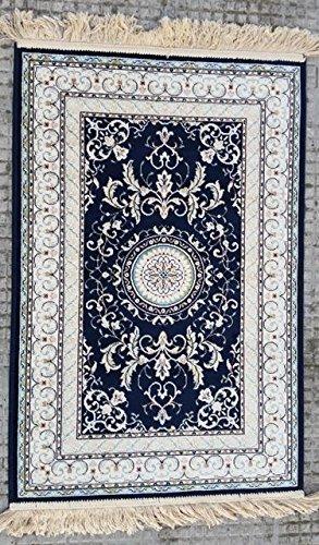 tappeto modello persiano vari colori varie misure con frangia made in belgium (80X150, Blu)