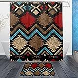 jstel Vintage arte africano 3piezas Set de baño, se puede lavar a máquina. Para uso diario, incluye 60x 72inch impermeable cortina de ducha, 12ganchos de ducha y 1alfombrilla de baño antideslizante alfombra-juego de 3