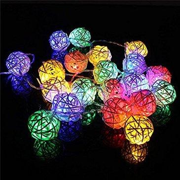 I LOVE DIY 2.2M Guirlande Lumineuses 20 Boule LED Guirlandes Batterie Rotin Pour Noël, Mariage, Patry, Decoration Maison