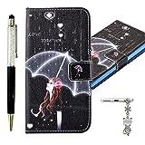 Funda iphone 6 / 6S Cover, Alfort 3 en 1 Case iPhone 6 / 6S Carcasa Protector de PU Con Función de Soporte y la Cartera + Toque Lápiz + Cristal de Polvo ( Travieso Gato )
