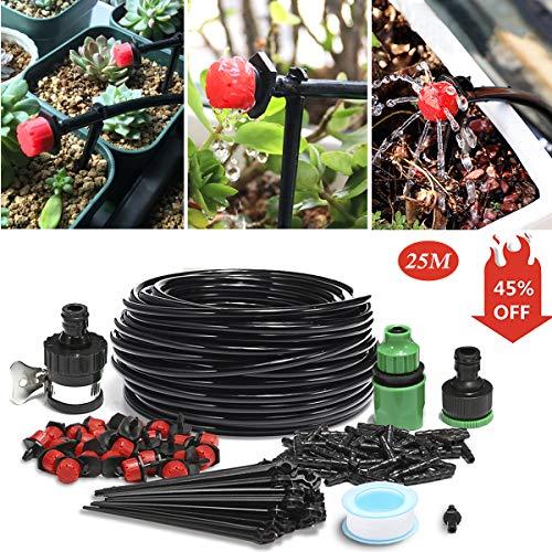 KING DO WAY Kit per Irrigazione a Goccia con Timer Automatico, Set di Irrigazione Automatica DIY Regolabile per Giardino Serra Impianto di Irrigazione Sistema ( Set Tubo Di 25 M )