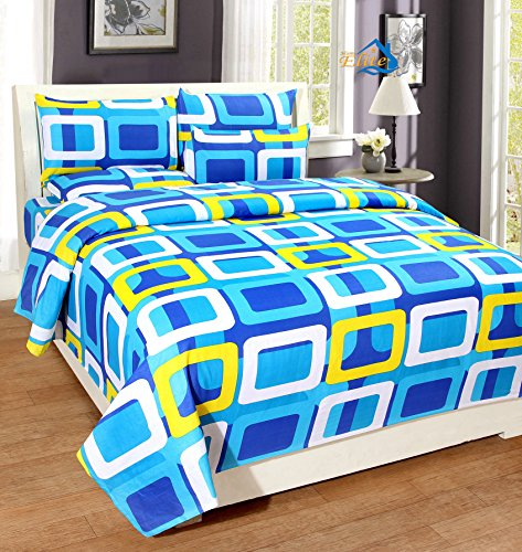 Home Elite Dynamic 124 TC Cotton Double Bedsheet with 2 Pillow Covers - Geometric, Blue