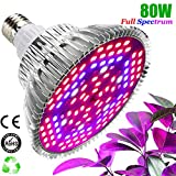 Lámpara de Cultivo 80W Grow Bombilla 120 Leds Iluminación para Plantas Cultivo Bombilla Lampara Crecimiento Lámpara Grow Light Espectro Completo Red/Blue/I&R para Interior/Invernadero/Grow Box
