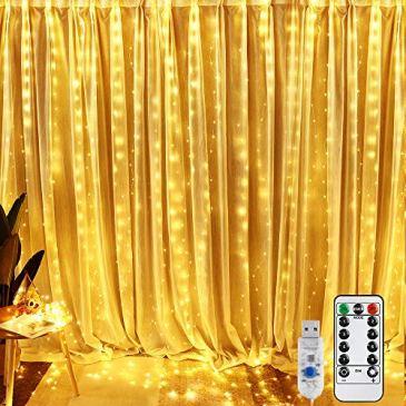 Guirlandes Lumineuses Rideau, BrizLabs 3*3M 300 LED Rideau Lumière 8 Modes d'Eclairage, USB Alimenté Basse Tension, Decoration de Fenêtre, Intérieur, Noël, Mariage, Maison, Patio (Blanc Chaud)