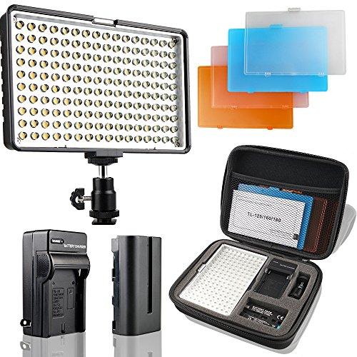 SAMTIAN Faretto Fotografico LED 160pezzi Pannello luce video 3200/5500K con batteria e caricabatteria, per fotografia Reflex Digitale