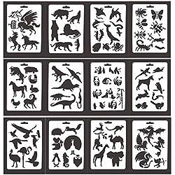 KOBWA Bullet - Plantillas para Cuaderno (12 Piezas, para Diario, Cuaderno o Cuaderno de Manualidades, Plantillas de Dibujo DIY, 5 x 7 Pulgadas)