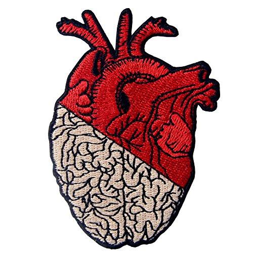 ZEGIN Toppa Ricamata da Applicare con Ferro da Stiro o Cucitura, Tema: Cuore e Cervello
