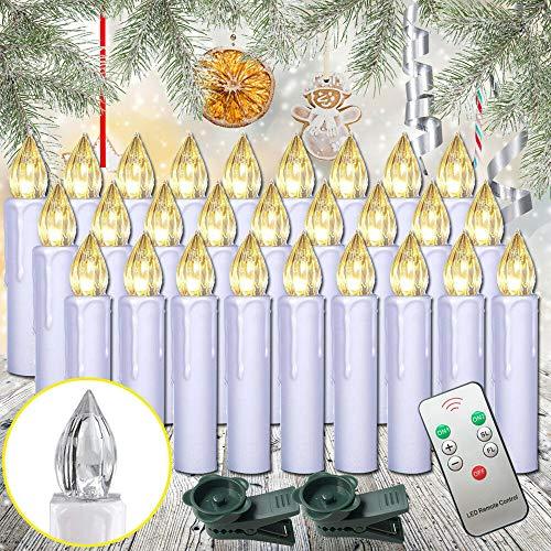 HENGMEI - Candele per albero di Natale, luce bianca calda, senza fiamma, con telecomando, illuminazione per albero di Natale, matrimoni, feste 30 Stücke