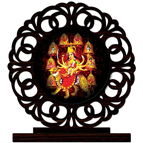 CRAZYINK Printed Navratri Wooden Home Décor Showpiece | Design 8 | Pure Wood | Wooden Showpiece | Printed Showpiece | Unique for Gift and Home and Office Decoration | Temple Worship (10 x 8 x 1.5 CM)